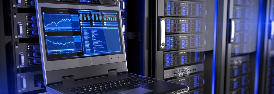 Asset Recovery console in server room data center