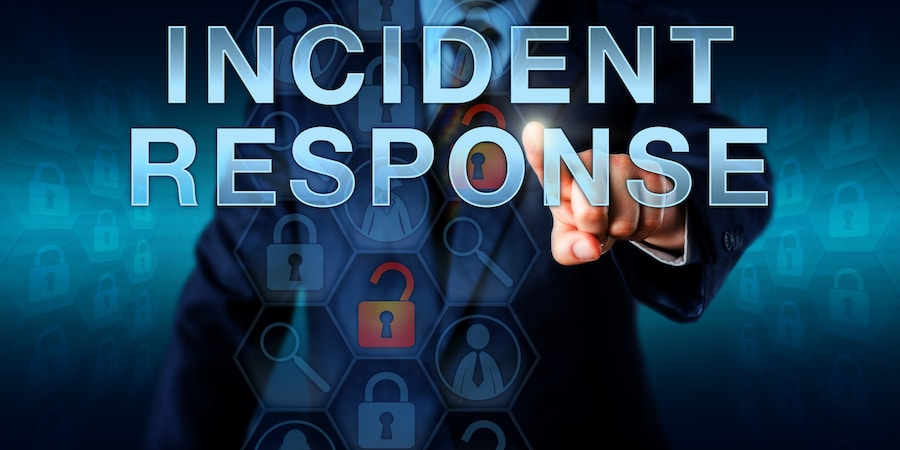Incident coordinator is pressing INCIDENT RESPONSE on a touch screen interface. Business metaphor and information technology concept for a planned reaction to a security breach or network intrusion.