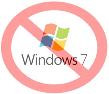 Widows 7 logo with a semi-transparent red circle and line over it